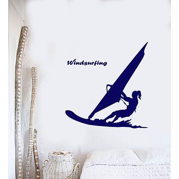 Vinyl Wall Decal Water Sports Windsurfing Surfer Beach Style Stickers (2945ig)