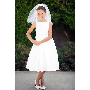Box Pleated Satin Girls Communion Dress in White or Ivory 6-14