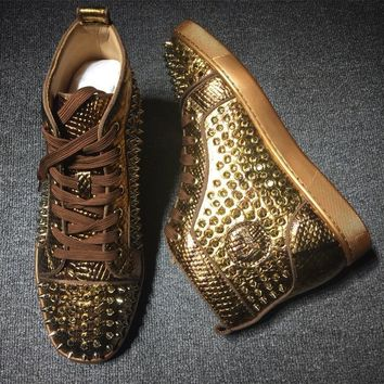 Cl Christian Louboutin Louis Spikes Style #1828 Sneakers Fashion Shoes