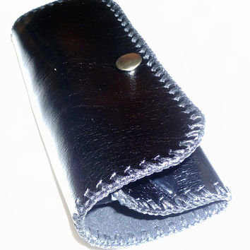 black leather reading glasses case unisex