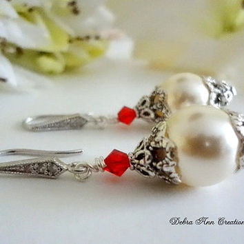 Swarovski Cream Pearl Red Crystal Earrings Antique Silver Red Bridesmaid Earring Red White Wedding Bridal Bride Jewelry Mother of Bride Gift