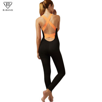B.BANG Women Sexy Backless One-piece Sportswear Yoga Sets Leggings Gym Fitness Clothing Suit for Woman Running Jumpsuits
