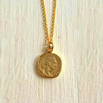 Gold Coin Necklace -- Coin Necklace -- Ancient Coin Necklace -- Antique Gold Plated Roman Coin -- Ancient Jewelry