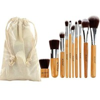ACEVIVI 8pcs Professional Cosmetic Makeup Brush Set With Portable Bag Black