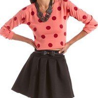 Polka Dot Crop Pullover Sweater: Charlotte Russe