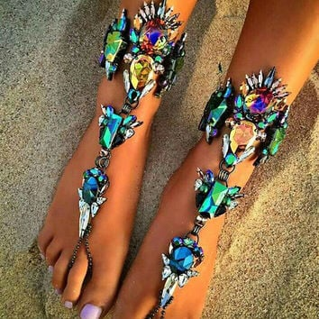 Barefoot Crystal Jewelry - 9 Sexy Anklet Sandal STYLES AVAILABLE