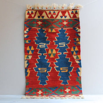 Vintage Konya Kilim Throw Rug or Wall Hanging  /  3.5' x 2'