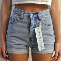 "High Waisted Shorts Size 1 / 2 LA Blues Cuffed Denim Milky Fr3sh ""Moira"""