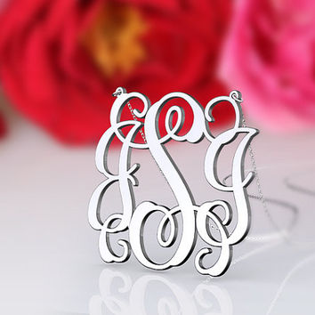 Monogram floral necklace --1 inch nameplate style personalized necklace 925 sterling silver