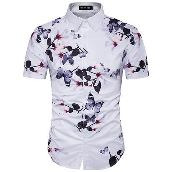 Summer Hot Sell 3D Flower Printed Hawaiian Shirt 2017 Slim Men's Holiday Vocation Tropical Seaside Short Sleeve Chemise Homme