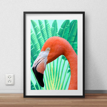 Flamingo poster, flamingo print, pink flamingo, tropical poster, Pink Flamingo Poster, Floral Poster, Printable, Flamingo Wall Art