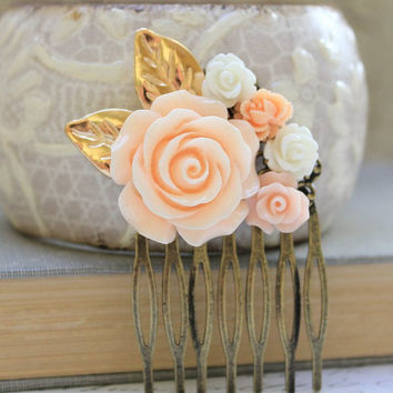 Peach Rose Comb Floral Collage Hair Accessories Shabby Chic Wedding Bridal Pale Peach Rose White Rose Gold Leaf Leaves Winter Holidays