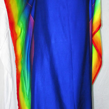 rainbow silk caftan, silk tunic, silk dress, hand painted silk dress, resort wear, beach coverup,