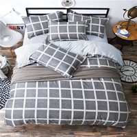 Grid stripe Bedding Set Simple fashion polyester cotton  printing 4PC Bed Sheet Sets duvet cover of Twin full queen king size
