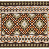 Pierce Outdoor Rug, Chocolate/Teal, Area Rugs