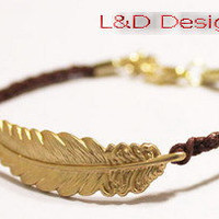Gold Leaf, Gold Feather Bracelet / Brown Woven Braid Belt / Bridemaids Jewelry, Friendship Graduation Gift / Summer Trends Accessories