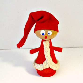 Vintage Swedish Tomten Wooden Figurine Christmas Elf Gnome Figural Tomte