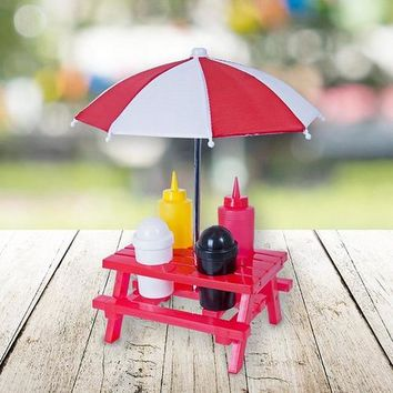 Mini Picnic Table Condiment Stand