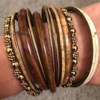 Set Of 12 Stackable Bangles In Variety Of Styles Neutral Tones Gold Ivory Wood Bracelets