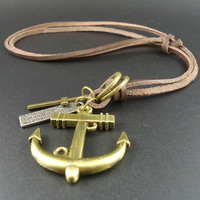 Retro Bronze Anchor Pendant Leather Necklace Gift-43