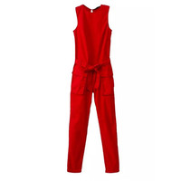 Korean Autumn Women's Fashion Sleeveless With Pocket Waistband Jumpsuit [6046275713]