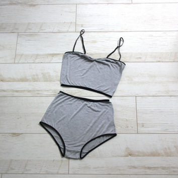 Grey jersey High waist underwear set , retro Retro Bra & Panties lingerie set - MADE TO ORDER