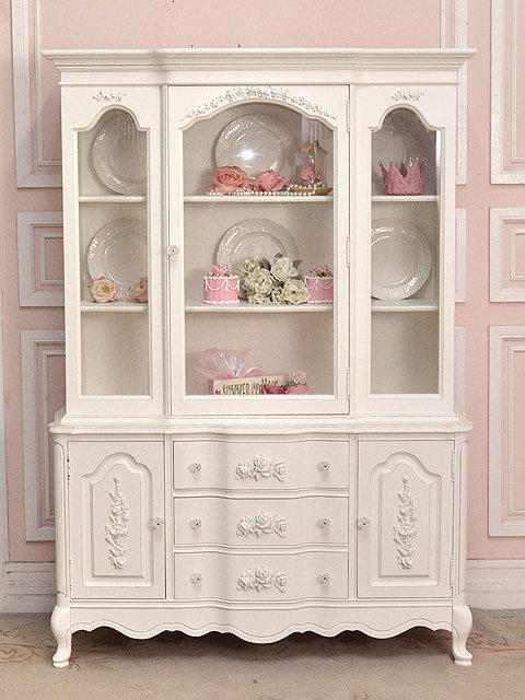 white shabby rose chic china cabinet with from the bella cottage. Black Bedroom Furniture Sets. Home Design Ideas