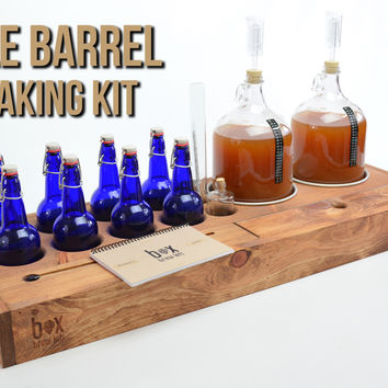 Double Barrel - 2 gallon beer making kit with 8 cobalt blue bottles