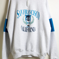 SAN FRANCISCO SWEATSHIRT / california pullover jumper / cali bear / bay area sweatshirt / colorblock / 90s vintage / mens / xxl