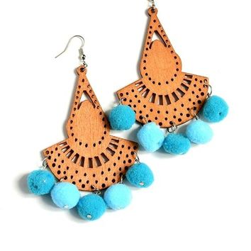 Wooden Pom Pom Earrings