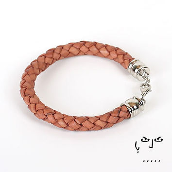 VujuWear 8mm Braided Brown Men's Leather Bracelet