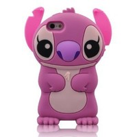 Disney Purple 3d Stitch Movable Ear Flip Soft Case Cover for Iphone 5(16g/32gb/64gb) Xmas Gift