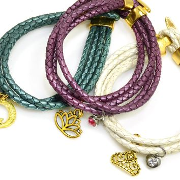 Braided Leather Wrap Bracelet with Gold Toggle Clasp-11 Colors-Add Charms!