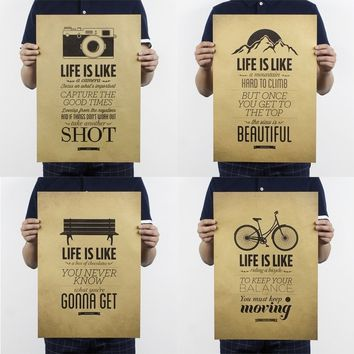 Life Is Like A Camera / A Mountain / A Box of Chocolates / Riding A Bike Vintage Style Decorative Painting Kraft Paper Poster 51