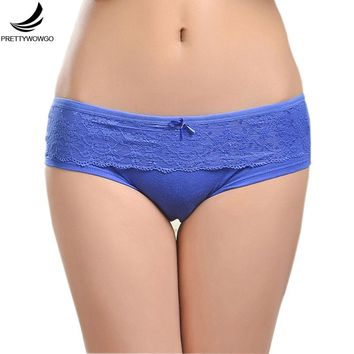 Prettywowgo Female Underwear 2017 New Lace Cotton Women's Briefs Panties 6847