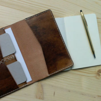 No. 4 handmade leather Journal Cover/Travel Wallet, Natural walnut dye