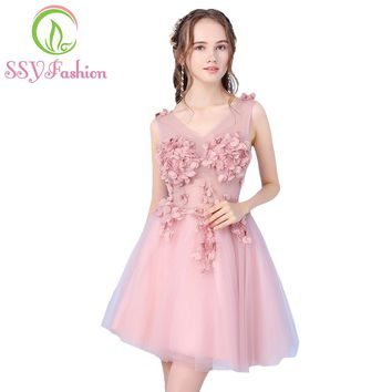 SSYFashion 2017 New Sweet Pink Bridesmaid Dress Short V-neck Sleeveless Lace Flower Knee-length Tulle Party Gown Formal Dresses