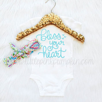 Baby Girl Clothes, Bless Your Heart Bodysuit, Paisley Knot Headband, Take Home Outfit, Coming Home Outfit, Trendy Baby Clothes, Spring