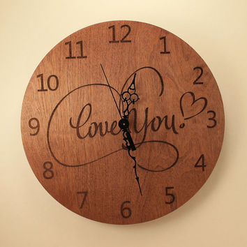 Love you laser cut clock Wood clock Wall clock Wooden wall clock Home clock Love gift Love decor Gift for her Wooden heart Valentine's day