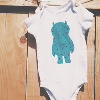 Teal and black dots 'Where the Wild Things Are' Onesuit