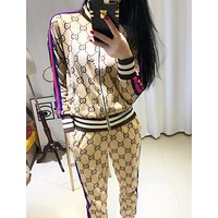 GUCCI Fashion Casual Zipper Long Sleeve Pritn Cardigan Jacket Coat And Pants Two Piece Suit