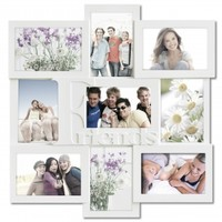 """Adeco Decorative White Wood """"Friends"""" Wall Hanging Collage Picture Photo Frame, 9 Openings, 4x6"""""""
