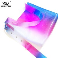 WDPOLO PVC shinning women big size fashion tote hot sell girls shoulder bag bling bling simple design neon color chic bags C113
