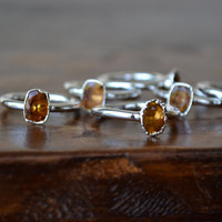 CITRINE  /// Citrine Stackable Faceted Gemstones Electroformed Rings /// Silver