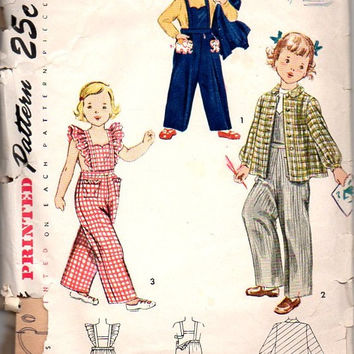 Simplicity 3346 Sewing Pattern 40s Child's Overalls Coveralls Jacket Bib Pants Toddler Girl Size 6