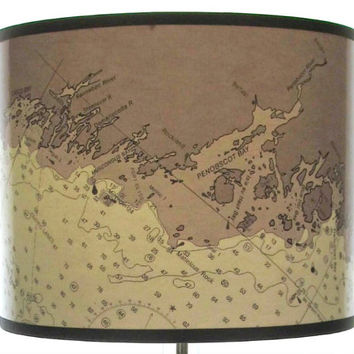 Coast of Maine Drum Lamp Shade - Maine Decor, Beach Decor, Black and White Nautical Chart Map Lampshade, Small, Medium, Large, Extra Large
