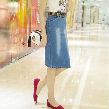 New Arrival Summer Womens Skirts High Straight Knee-Length Midi Skirt Side Split Deep Blue And Light Blue Denim Skirt