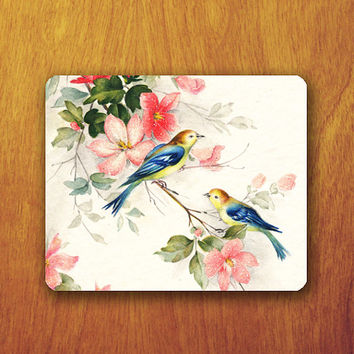 Beautiful Bird Vintage Mouse Pad on Brunch Floral Beautiful Animal Painting Old Paper Office Pad Work Accessory Personalized Custom Gift