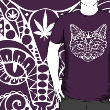 cat with pot leaf shirt