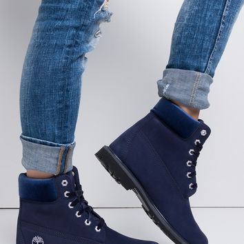 Timberland 6 Inch Premium Leather Velvet Waterproof Boot in Dark Blue Nubuck Velvet